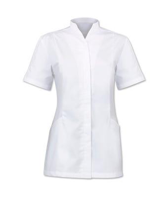 Women's White S/S Tunic W/Companion Care Logo