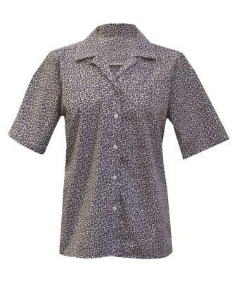 Women's short sleeved convertible collar blouse