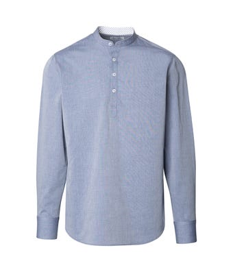 Womens chambray stand up collar shirt