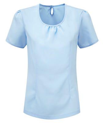 Women's round neck Crepe de Chine blouse