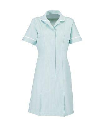 Women's S/S Dress Aqua /White