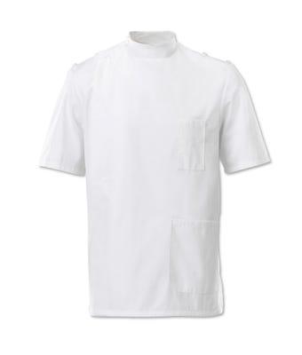 MDX Mens Mandarin Collar Epaultte Tunic White G91WH