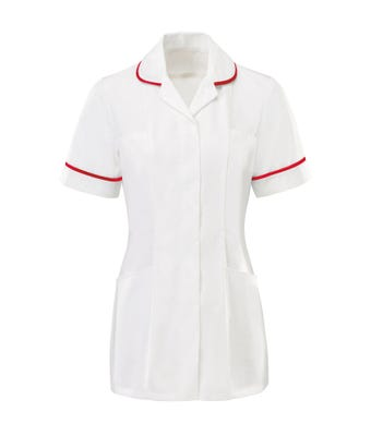 MDX Womens Tunic White with Red Trim HP369WRE