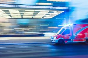 Ambulance dashing to a medical scene
