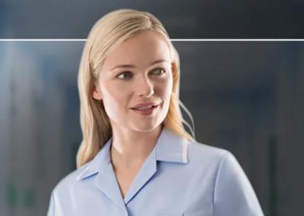 Nurse wearing a light blue tunic