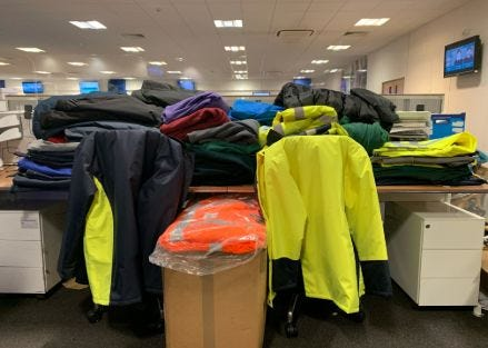 Ethical workwear Alexandra donated to a homeless charity